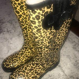 Leopard Rain Boots Size 7